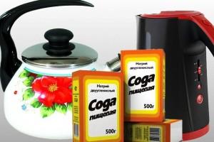Как очистить чайник от накипи содой