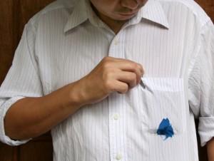 Пятно шариковой ручки на одежде